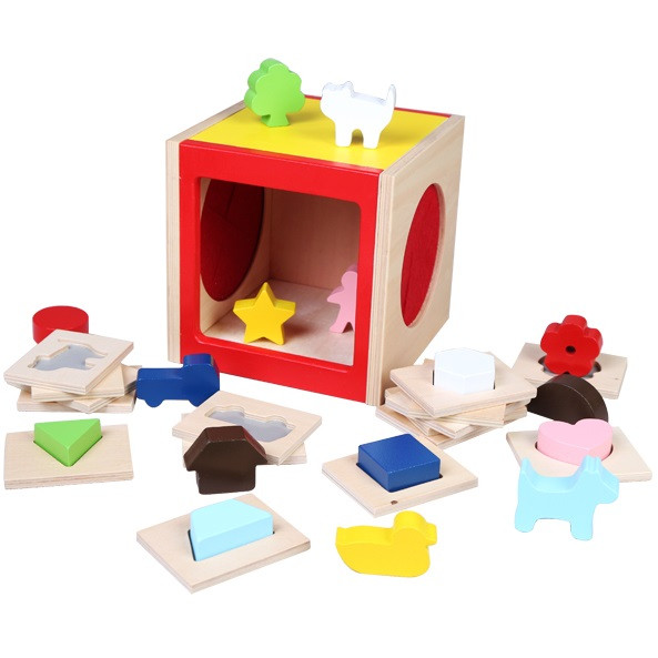 image of [Little B House] Wooden Blocks Shape Sorting Cube Classic toy - BT202