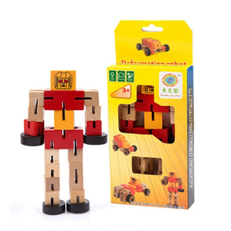 image of [Little B House] Wooden Transformer Deformable Toy Wooden Magic Cube Robot - BT203