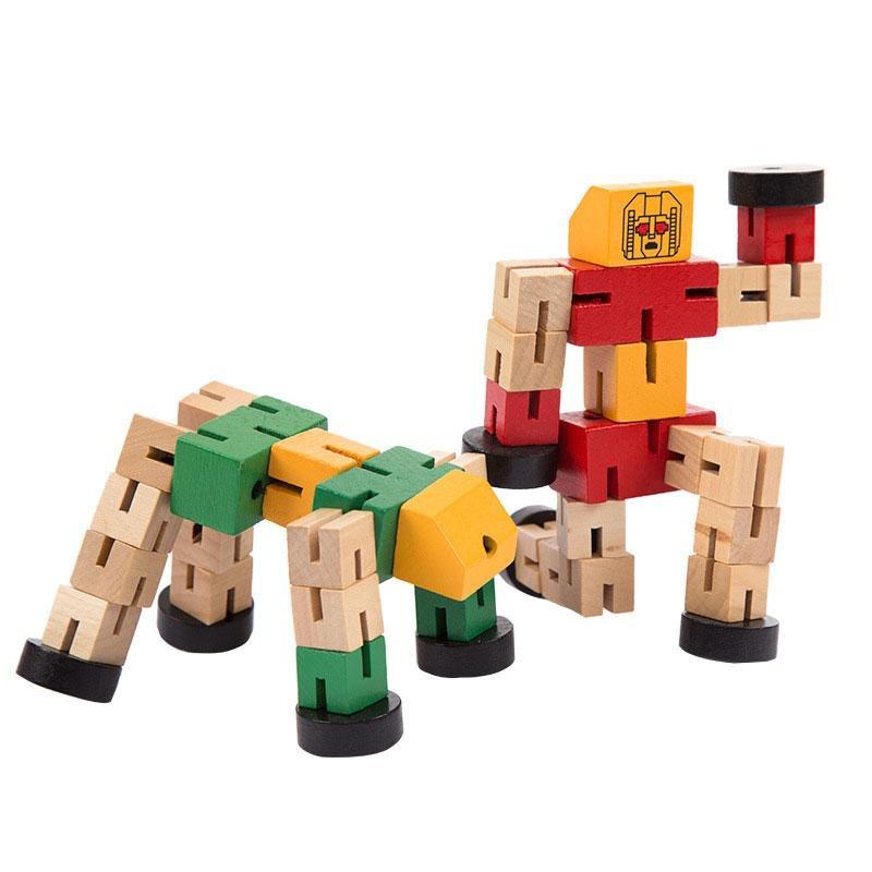 [Little B House] Wooden Transformer Deformable Toy Wooden Magic Cube Robot - BT203