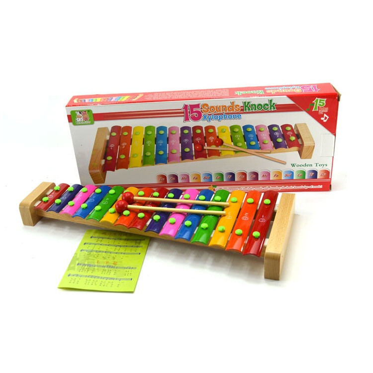 image of [Little B House] 15-Note Wooden Musical Toys Teaching Aid Child Early Education Xylophone - BT204