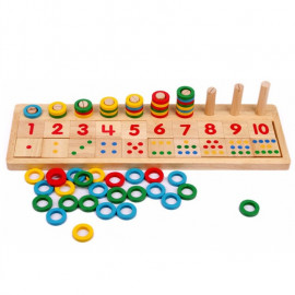 image of [Little B House] Montessori Teaching Logarithmic Board with Rainbow Donuts Kids Toys - BT136