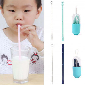 image of Portable Collapsible Straw Reusable Foldable Silicone Drinking Straw - TW10