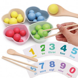 image of [Little B House] Wooden Kids Training Focus to Improve Fine Movements Hand-Eye Coordination Clip Beads - BT209