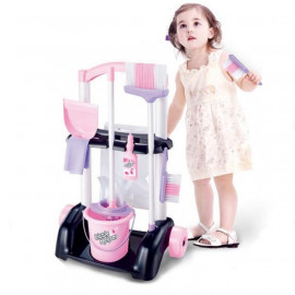 image of [Little B House] Little Helper Cleaning Cart Trolley Pretend Play Toys - BT211