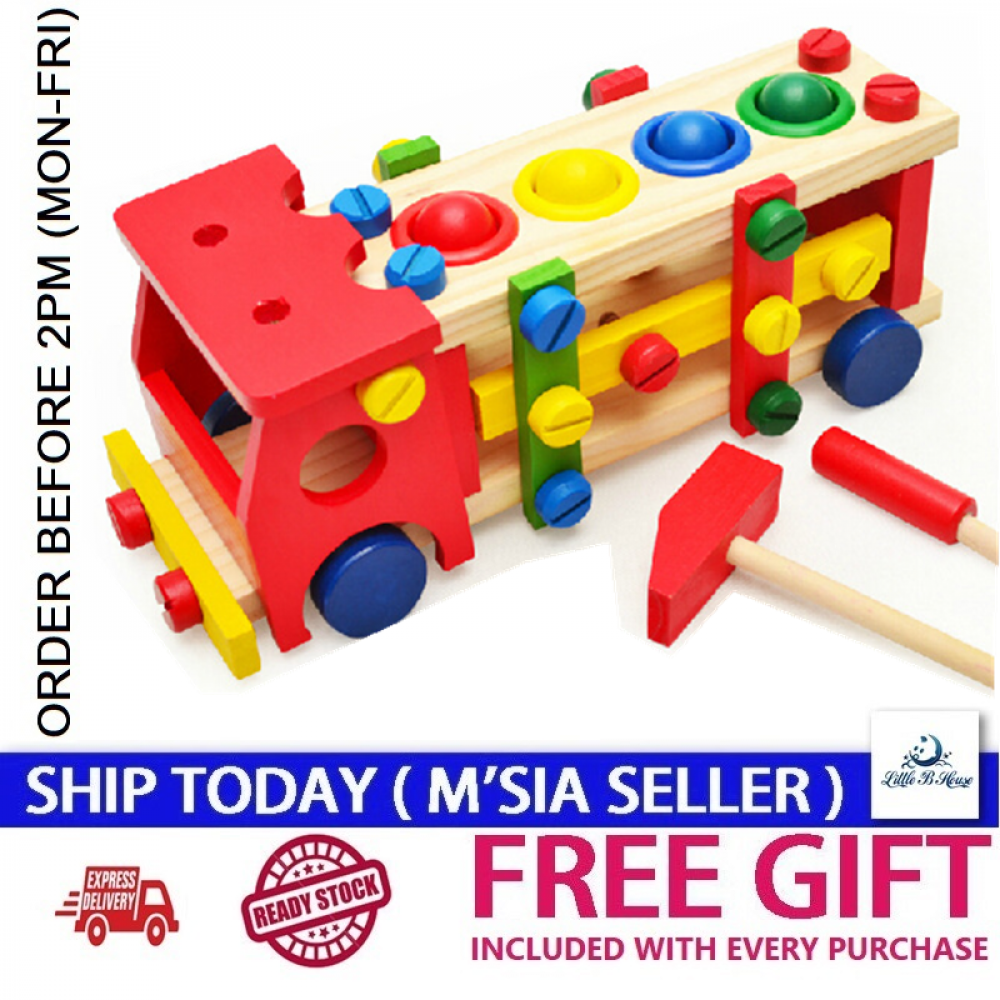 [Little B House] Wooden Buillding Blocks Screw Nut Car Removable Toy Baby Educational Toys -BKM30