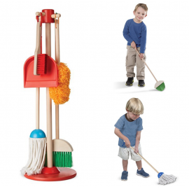 image of [Little B House] Let's Play House! Dust, Sweep and Mop Pretend Play Cleaning Wooden Set - BT210