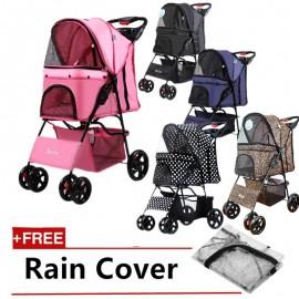 image of READY STOCK - Bello Japanese 4 Wheel Pet Stroller Trolley (FREE RAIN COVER)