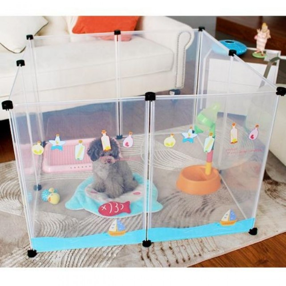 READY STOCK - Japanese Style Transparent Pet Fence Pet Playpen Cage