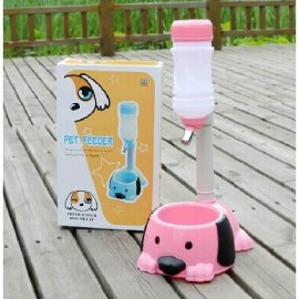image of READY STOCK - Cute Dog Adjustable Water Food Feeder For Pet