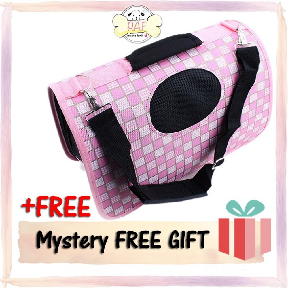 READY STOCK - Oxford Fordable High Quality Pet Bag (Pink Square)