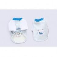 image of READY STOCK - Pet Apparel Blue Stripe Bear Top