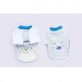 image of READY STOCK - Pet Apparel Blue Stripe Bear Top