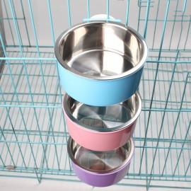 image of READY STOCK - Pet Cage Hanging Stainless Steel Food Water Bowl