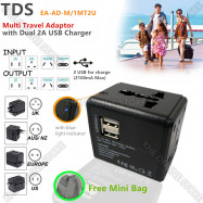 image of TDS Universal Adapter with 2 USB Ports & 2.1 AMP Max