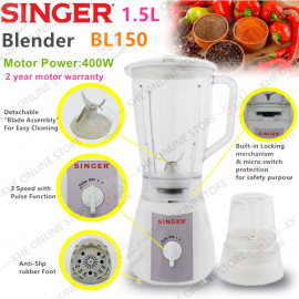 image of Singer 2in1 Wet Jug 1.5L & Dry Mill Blender