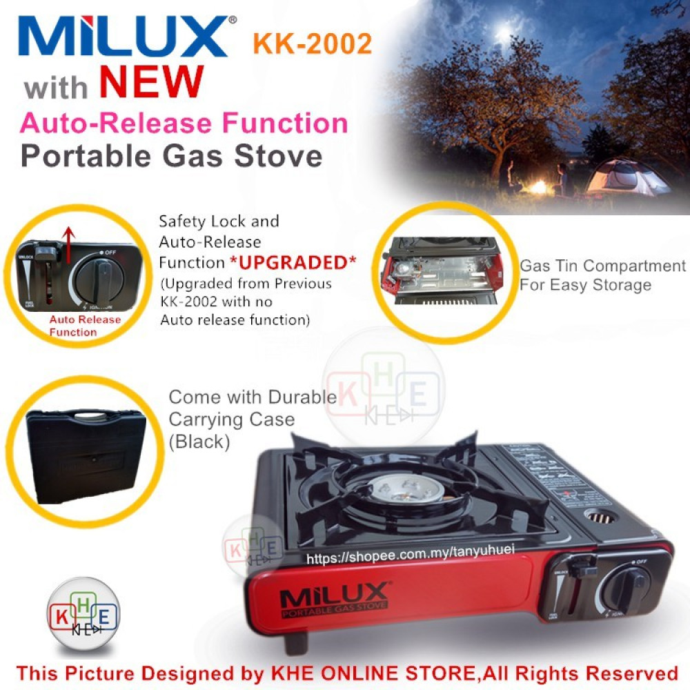 Milux Portable Gas Stove with Auto-Release Function