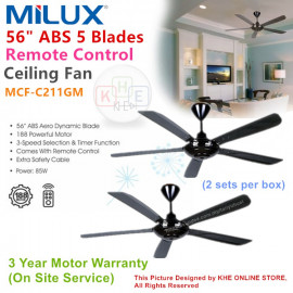 """image of Milux 56"""" ABS 5 Blades Remote Control Ceiling Fan (Black) 2 Sets"""