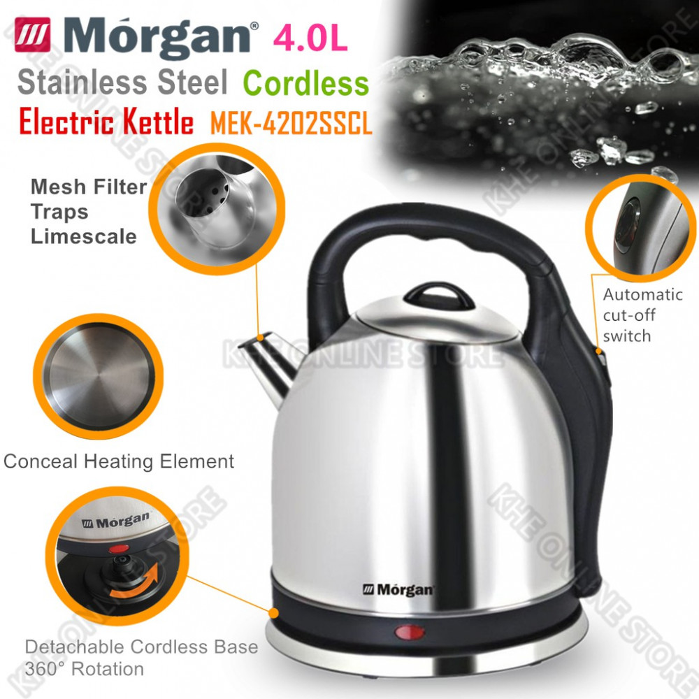 Morgan Cordless & Stainless Steel Electric Kettle 4L