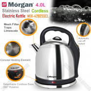 image of Morgan Cordless & Stainless Steel Electric Kettle 4L