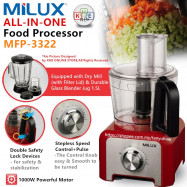 image of Milux All-in-One Multi-Function Food Processor Blender 1000W