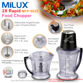 image of Milux 2x Rapid Food Chopper/Processor 400W MFP-9625