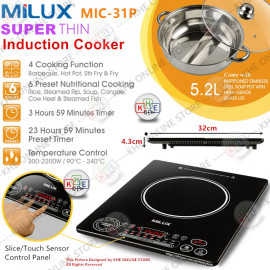 image of Milux Super Thin Multi-Function Induction Cooker Control