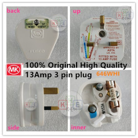 image of MK Heavy-Duty 13AMP Fused Bakelite 3Pin Plug 646WHI