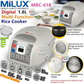 image of Milux Digital Multi-Function Rice Cooker 1.8L