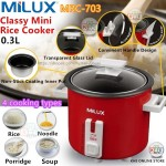 Milux 0.3L Mini Rice Cooker MRC-703