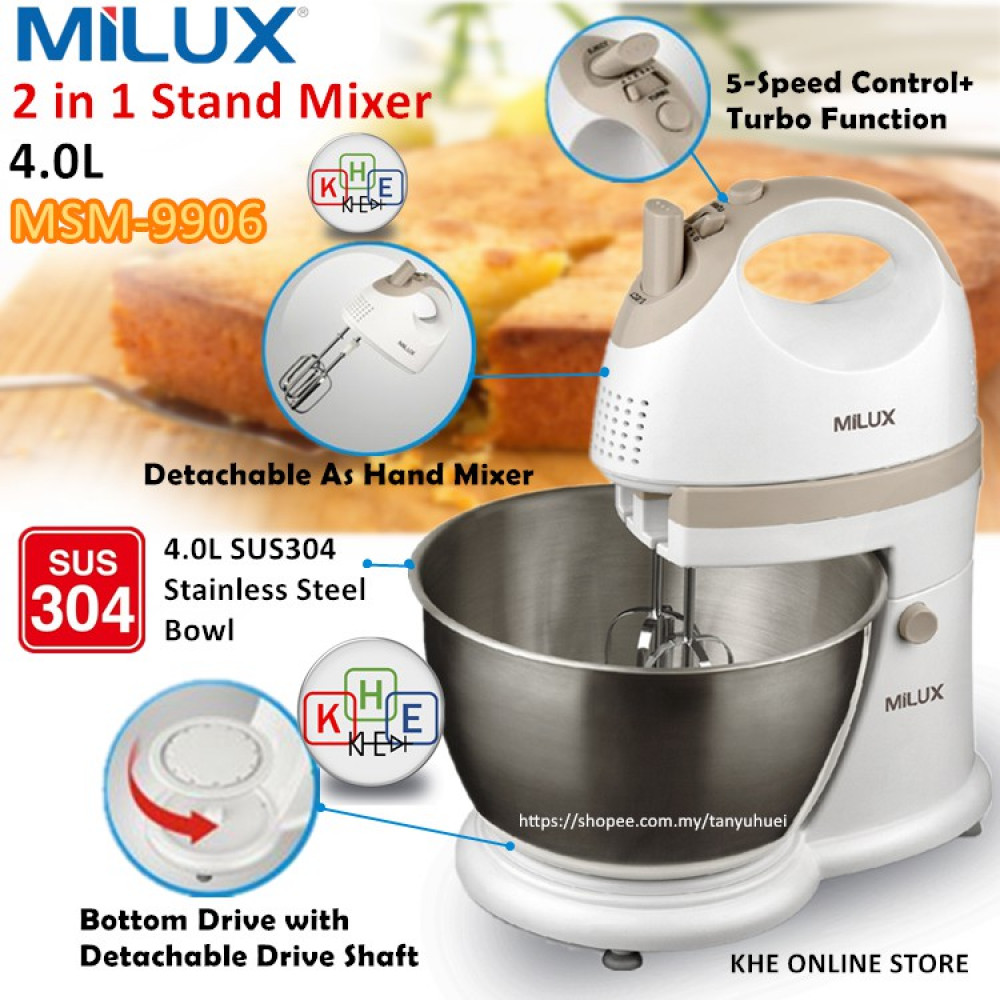 Milux Stainless Steel Rotating Bowl 4L 2in1 Stand Mixer 300W