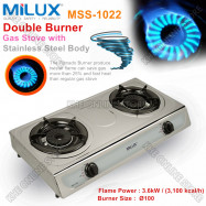image of Milux Double Tornado Burner Stainless Steel Gas Cooker