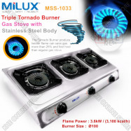image of Milux Stainless Steel triple Burner Gas Cooker