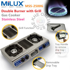 image of Milux Steel Double Burner with Grill Gas Cooker