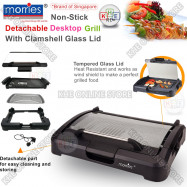 image of Morries Detachable Table-Top BBQ Grill with Glass Lid