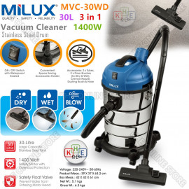 image of Milux 3in1 Vacuum Cleaner with 30L Stainless Steel Drum 1400W