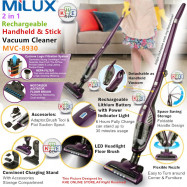 image of Milux 2in1 Rechargeable Cordless Handheld & Stick Vacuum