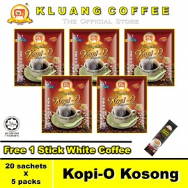 image of Kluang Black Coffee Kopi-O【20 sachets x 5 packs】CAP TELEVISYEN