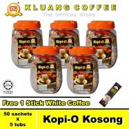 image of Kluang Black Coffee Kopi-O【50 sachets x 5 tubs】CAP TELEVISYEN
