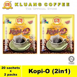 image of Kluang Black Coffee Kopi-O (2in1) with Sugar【20 sachets x 2 packs】CAP TELEVISYEN