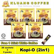 image of Kluang Black Coffee Kopi-O (2in1) with Sugar【20 sachets x 5 packs】CAP TELEVISYEN