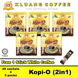 image of Kluang Black Coffee Kopi-O (2in1) with Sugar【20 sachets x 5 packs】CAP TELEVISYEN