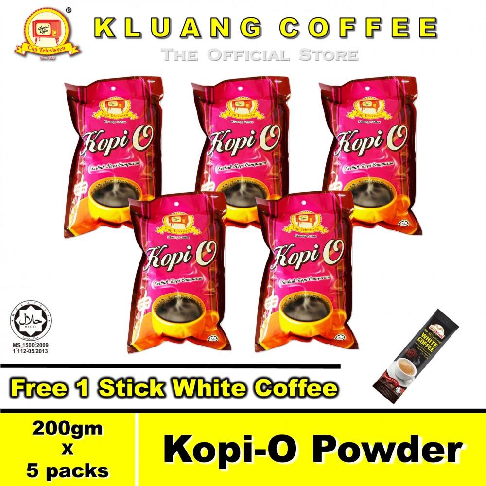 Kluang Black Coffee Kopi-O Powder【200gm x 5 packs】CAP TELEVISYEN