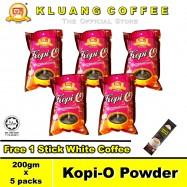 image of Kluang Black Coffee Kopi-O Powder【200gm x 5 packs】CAP TELEVISYEN