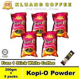 image of Kluang Black Coffee Kopi-O Powder【200gm x 5 packs】CAP TELEVISYEN