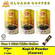image of Kluang Black Coffee Kopi-O Powder Coarse【500gm x 3 tubs】CAP TELEVISYEN