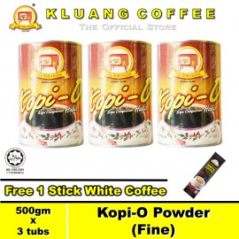 image of Kluang Black Coffee Kopi-O Powder Fine【500gm x 3 tubs】CAP TELEVISYEN
