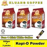Kluang Black Coffee Kopi-O Powder【500gm x 3 packs】CAP TELEVISYEN