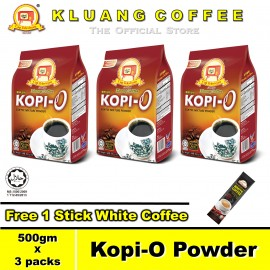 image of Kluang Black Coffee Kopi-O Powder【500gm x 3 packs】CAP TELEVISYEN