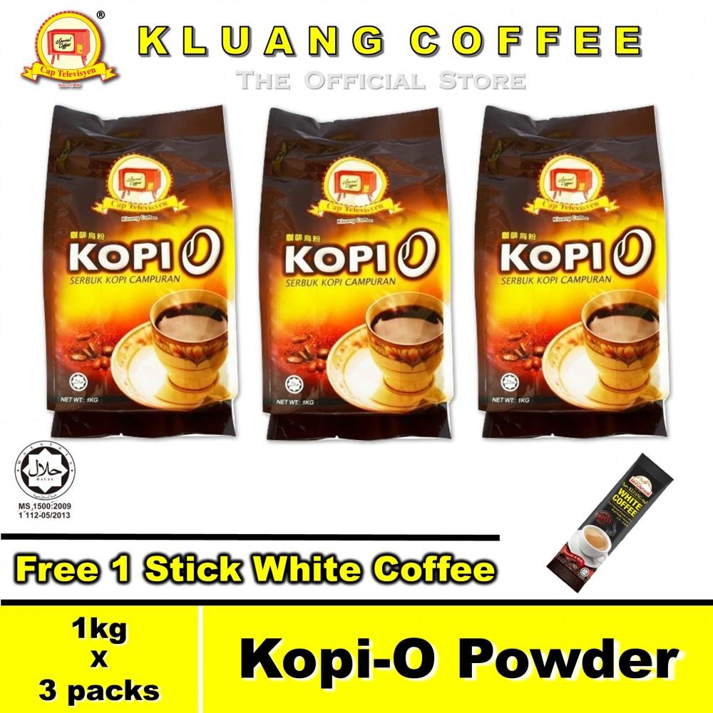 Kluang Black Coffee Kopi-O Powder【1kg x 3 packs】CAP TELEVISYEN