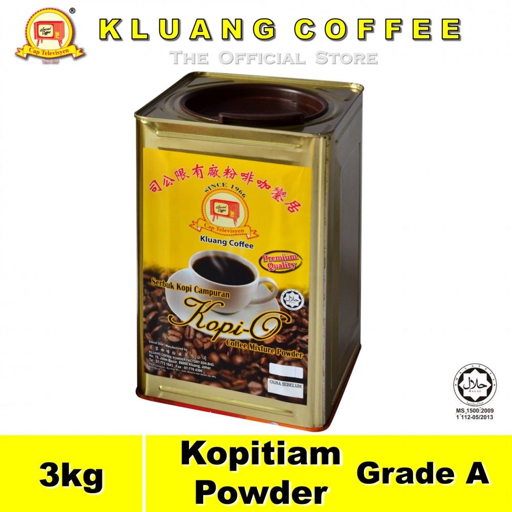 Kluang Black Coffee Kopitiam Powder Grade A【3kg】CAP TELEVISYEN